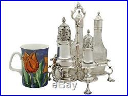 Antique George III Sterling Silver and Cut Glass Cruet Set 1762