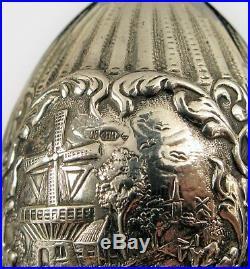 Antique H Hooijkaas Dutch Silver Plate Windmill Salt Pepper Shaker Set Rare