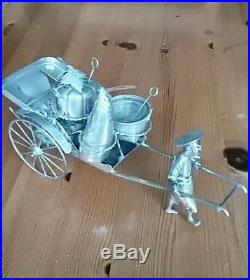 Antique Hallmarked Chinese Silver vintage condiment set man pulling rickshaw