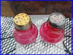 Antique Hobbs No. 331 Ruby Salt & Pepper Shakers