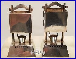Antique Japanese. 950 Sterling Silver Miniature Salt Pepper Shakers Lantern Form