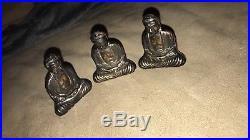 Antique Japanese Buddha Sterling Silver Pair Salt & Pepper Shakers Scholar