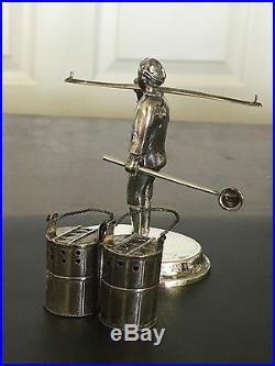 Antique Japanese Sterling 950 Silver Salt & Pepper Shaker Set Man Pole & Buckets