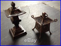 Antique Japanese art silver Chinese Lanterns salt pepper server tableware shaker