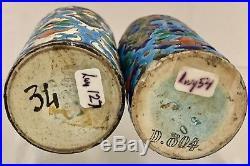 Antique Longwy French Pottery Majolica Salt & Pepper Shaker Pewter Tops S&P D804