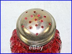 Antique Northwood Glass Sugar Shaker Cranberry Leaf Umbrella