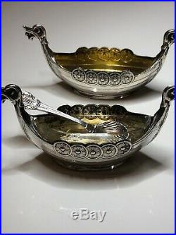 Antique Norwegian Viking 880 Solid Silver Salt & Pepper Pots Good Condition
