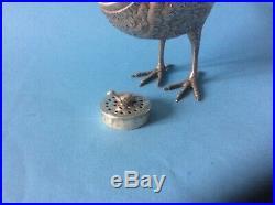 Antique Novelty Silver Bird Pepperette