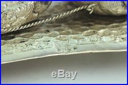 Antique Novelty Solid Silver Cherub Swan Salt Cellar And Matching Spoon