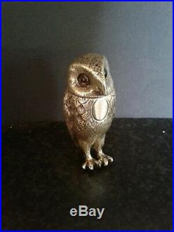 Antique Novelty Solid Sterling Silver Owl Pepper Dated 1897 By Hawksworth Eyer