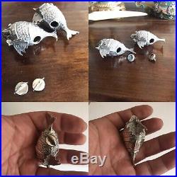 Antique Or Vintage Spanish Solid Silver Novelty Pr Of Salt & Pepper Form Of Fish