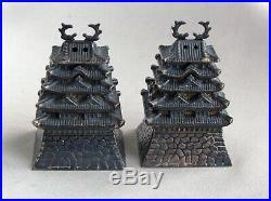 Antique PAGODA Japan 950 Sterling Silver Salt & Pepper ShakersK694