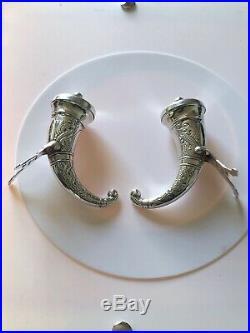 Antique Pair Silver Norwegian Novelty Viking Drinking Horn Pepper Pots