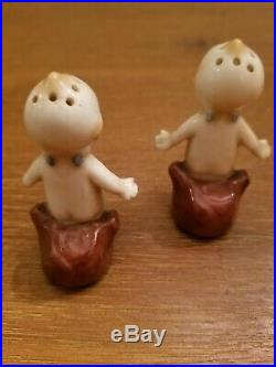 Antique Porcelain Rose O'Neill Kewpie Dolls Salt pepper Shakers 2 3/4 Tall