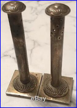 Antique Rare Column Form Sterling Silver Navajo Salt & Pepper Shakers