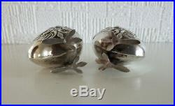 Antique Rare Pair Solid Silver Glass Figural Chicks Bird Salt & Pepper Shakers