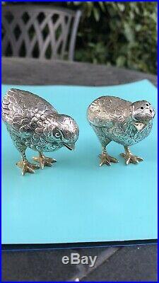 Antique Rare Solid Silver Pr Salt & Pepper In Form Of Bird Chicken Chick Figuers