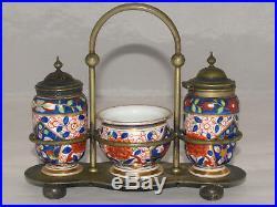 Antique Royal Vienna Porcelain Salt & Pepper Condiment Set Japanese Imari Style