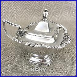 Antique Salt and Pepper Shakers Cruet Set Old Sheffield Silver Plate Mustard Pot