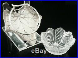 Antique Silver Leaf Shaped Salt Cellar with Liner, Norton & White 1887