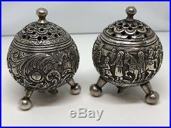 Antique Silver Salt and Pepper Shaker 19th Century Indian Kutch (Kachchh)