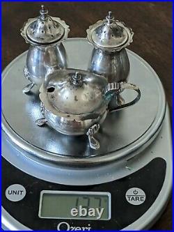 Antique Solid 925 Sterling Silver Salt & Pepper Shakes + Lidded Dish 137grams