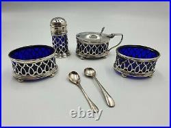 Antique Solid Silver Condiment Cruet Set Set, Docker & Burn Birmingham 1923