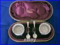 Antique Solid Silver Cruet Set In Case Birmingham 1897 Hayes Bros