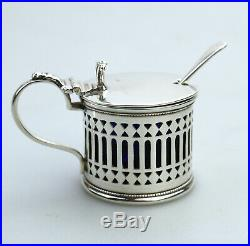 Antique Solid Silver Quality Drum Mustard Pot Chester 1919/20