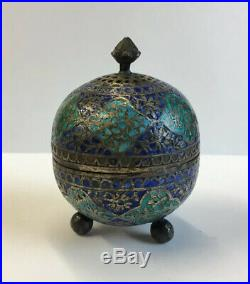 Antique Solid Silver (Tested) & Enamel Indian Pepper Pot 6cm In Height