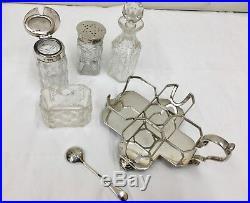Antique Solid Sterling Silver 4 Bottle Cruet