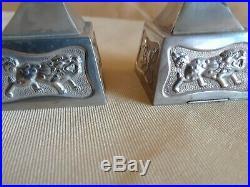 Antique Sterling Silver 950 Japanese Lanterns Foo Dogs Salt Pepper Pagoda
