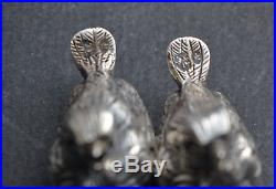 Antique Sterling Silver Birds Salt and Pepper Shakers