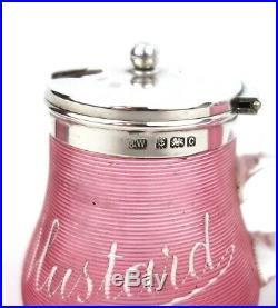 Antique Sterling Silver Condiment Set Mustard Pepper Pot Salt Cranberry 1902