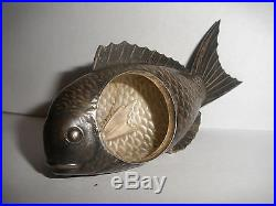 Antique Sterling Silver Figural open salt cellar holder Japanese Koi Fish