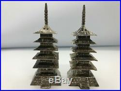 Antique Sterling Silver Japanese Pagoda Salt & Pepper Shakers