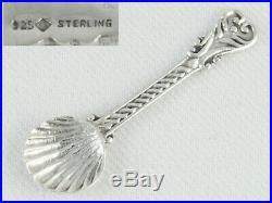 Antique Sterling Silver Pedestal Shell Salt Dish With Cherub Figure & Salt Spoon