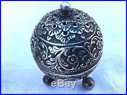 Antique Sterling Silver Repousse Footed Salt And Pepper Shakers