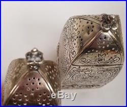 Antique Sterling Silver Repousse Salt And Pepper/sugar Shakers Caster Muffineer