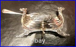 Antique Swedish Silver Salt in the Form of a Viking Longboat 19 century