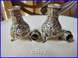 Antique / VTG Sterling Silver 925S Repousse Salt & Pepper Shakers, A. G. Schultz