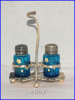 Antique Victorian Blue Inverted Thumbprint Glass Salt Pepper Condiment Set