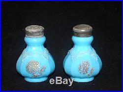 Antique Victorian Glass Northwood Chrysanthemum Blue Opaque Salt & Pepper Shaker