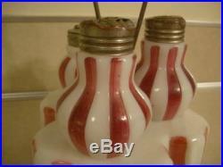 Antique Victorian Glass Set Sugar Salt Pepper Shakers Red Striped w Elegant Base