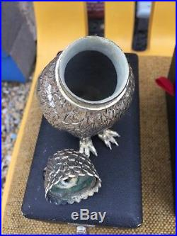 Antique Victorian Gothic Owl Salt and Pepper Shakers Silver Plate With Cases