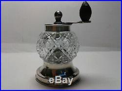 Antique Victorian Silver Glass Pepper Grinder Mill Peugot Freres 1894