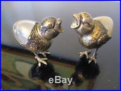 Antique Victorian Sterling 800 SIlver Figural Chick Bird Salt&Pepper Shakers