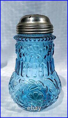Antique Victorian blue glass Flower Mold sugar shaker Muffineer