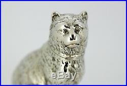 Antique Victorian sterling silver salt or pepper shaker in the shape cat, 1872