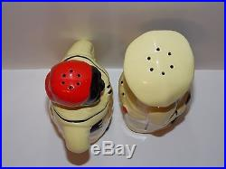 Antique Vintage Black Americana 7 Lg Range Sz Salt & Pepper Shakers Pale Yellow